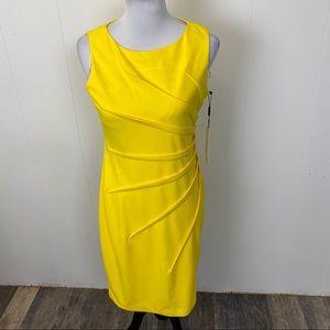 Calvin Klein Yellow Side pleat dress